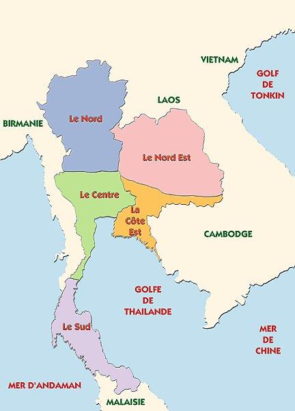 Carte Thailande Frontiere.Regions De Thailande
